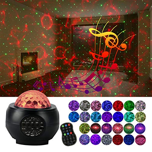 MPRINCE Star Projector Light, LED Galaxy Projector Ocean Wave Night Light,with Bluetooth Speaker Remote Control,for Party Bedroom Decoration,for Kids Adults Christmas Halloween Gift (Black)