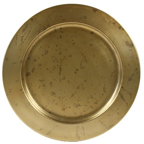 (Koyal Wholesale Aged Gold Brass Bulk Metal Charger Plates, Set of 4, Vintage Service Plates for Wedding Reception, Bridal Shower, Antique Table Settings Decor)