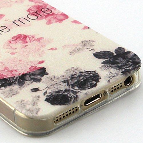 Fashion Coque pour Apple iphone 5/5s, Crystal Housse en Soft TPU Gel Silicone pour iphone 5s, iphone 5 Flexible Souple Cas Back Case Cover de Protection, Ultra Slim Créatif Dessin Couleur Motif de Fle