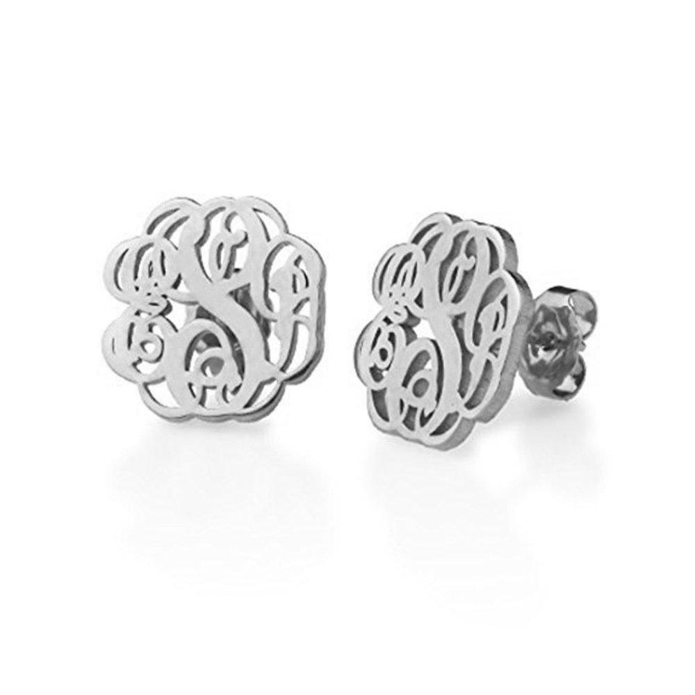 Amazon.com: Stan-Deed Monogram Stud Earrings Personalized 3 Letters on