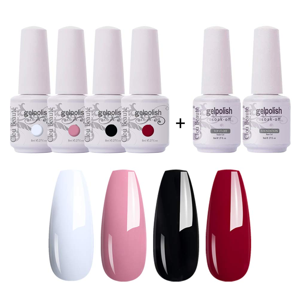 Amazon Com Clou Beaute Soak Off Uv Led Nail Gel Polish Kit Varnish Nail Art Manicure Salon Collection Set Of 4 Colors With 1 Top Coat And 1 Base Coat 8ml 001 Baby