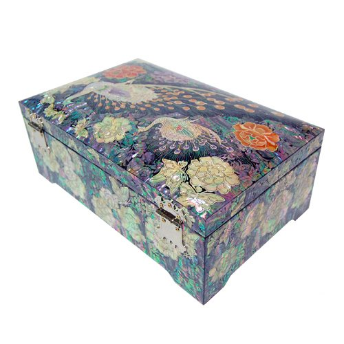 Silver J Wooden Lacquered Jewelry Box, Mother of Pearl Jewellery Box, Handmade Oriental Gift, Luxurious Peacock. by Silver J (Image #3)