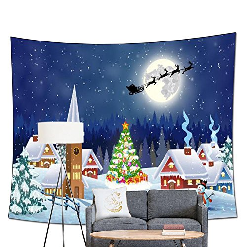 Roll Wonderland Room Winter (POPPAP Christmas Wall Art Print Tapestry, Christmas Village Snowy Outdoor Tree With Decoration Bells Gift Print Winter Forest Picture Print Party Wall Background (60