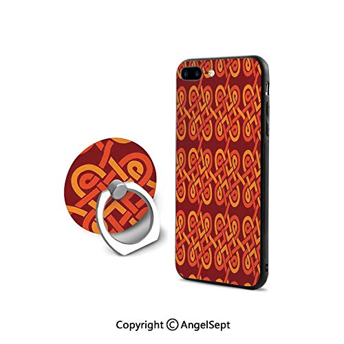 Protective Case Compatible iPhone 7/8 with 360°Degree Swivel Ring,Multi Colored Interlaced Decorative Vintage Celtic Conjoined Knot Forms European Graphic,Shock-Absorption Bumper,Red Orange