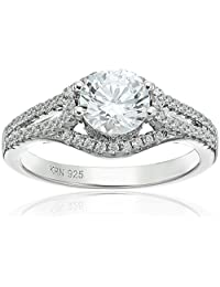Amazon Collection Cubic Zirconia Split Shank Double Row in Sterling Silver Engagement Ring