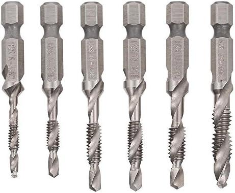 "6Pcs HSS 1//4/"" Hex Shank SAE Drill Tap Combination Bit Set Deburr Countersink Bit"