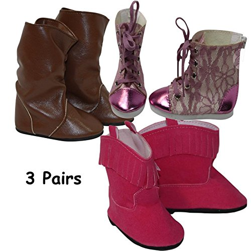(18 Inch Doll Clothes | Value Trendy 3-Pack Boots & Sneaker |Brown Boots | Pink Cowgirl Boots | Pink Hi Top Metallic Lace Sneakers | 3 Pairs Shoes Fits American Girl 18