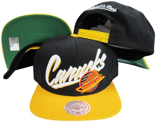 66ea81ec456 Mitchell   Ness Vancouver Canucks Diagonal Script Black Yellow Two Tone  Plas.