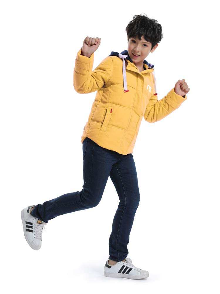 OCHENTA Boys' Hooded Winter Quilted Puffer Jacket, Parka Down Coat Yellow Tag 120-43''(4T) by OCHENTA (Image #2)