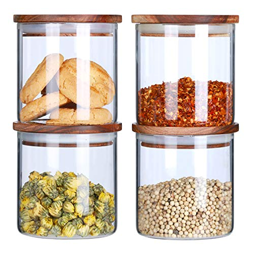 Glass Canisters Set For The Kitchen Glass Storage Jars With Airtight Wood Lid Airtight Food Storage Containers Stackable Sugar Salt Containers Coffee Loose Tea Candy Jars 18Floz 4-Piece Set