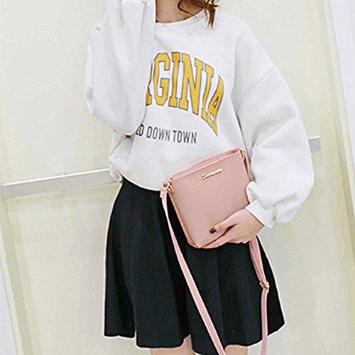 DAY.LIN Reine Farbe Umhängetasche Handy-Paket Mode Frauen Umhängetasche Umhängetasche Messenger Bag Handytasche Münztüte Rosa 7tMgM