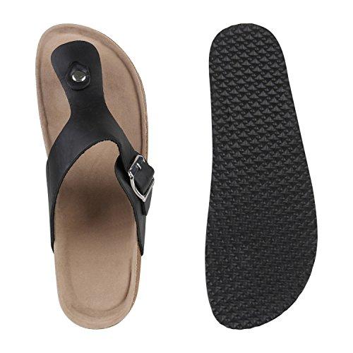 Stiefelparadies Herren Hausschuhe Zehentrenner Leder-Optik Sandalen Schnallen Bequeme Schlappen Schuhe Flandell Schwarz