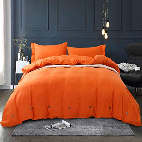 NANKO Queen Duvet Cover Set Orange 3pc 90x90 Luxury Microfiber Down Comforter Quilt Bedding Cover with Deco Buttons Zipper Closure Ties - Modern Style for Men and Women Chambray Teen (Comforter Ladies Set)