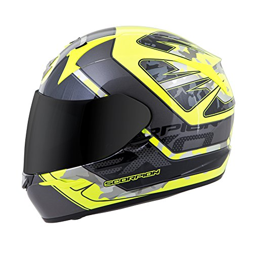 Scorpion EXO-R410 Unisex-Adult Full Face Motorcycle Helmet (Neon/Silver, Large) (Convoy)