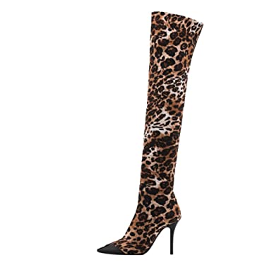0d9ccbb6847 Dacawin Fashion Women's Over Knee High Heel Boots Long Tube Sexy ...
