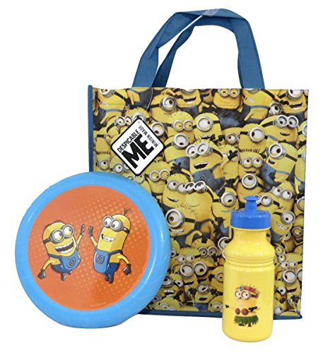 Despicable Me Minions Flying Disc, Pull-top Bottle and Reusable Tote Bundle Su-20 (Many Minions (Minions Movie: Minion Kevin Adult Costume)