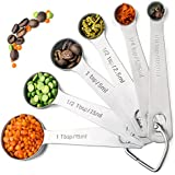 Palada 430 Stainless Steel Measuring Spoons, All in One Set of 6 Professional Spoons, Engraved, Cute Ring Holder, Best Metal. For Dry and Liquid Ingredients. EBook With 10000 Recipes Included.