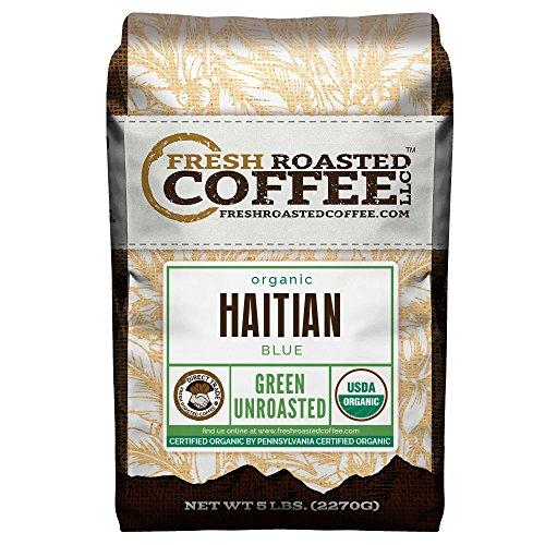 Green Unroasted Coffee, 5 Lb. Bag, Fresh Roasted Coffee LLC. (Organic Haitian Blue)
