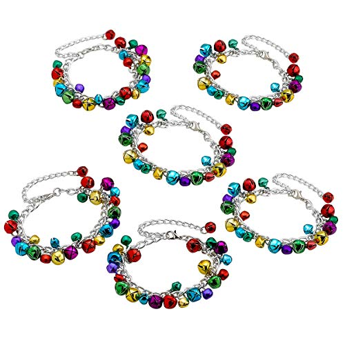 Holiday Bracelets for Kids - Pack of 6 Jingle Bell Jewelry - Perfect, Novelty Toys Collection, Fashion Accessories, Party Supplies, Prizes, and Santa Stocking Stuffers (Easter Jingle Bells)