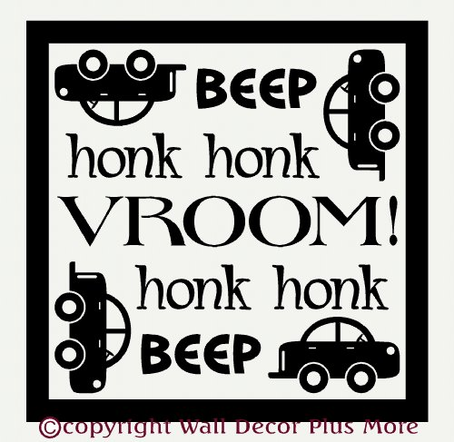 Wall Décor Plus More WDPM1460 Beep Honk Vroom Wall Vinyl Sticker with Car Decal, 23 W  x  23 H, Black ()