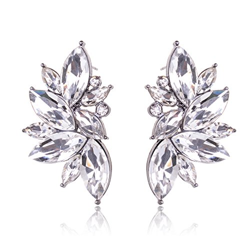 Ginasy Luxury Leaves Shape Glass Cluster Crystal Teardrop Flower Design Stud Earrings (White)