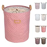 DOKEHOM DKA0811PK1 17.7' Large Laundry Basket (Available 17.7' and 19.7'), Drawstring Waterproof Round Cotton Linen Collapsible Storage Basket (Pink Dots, M)