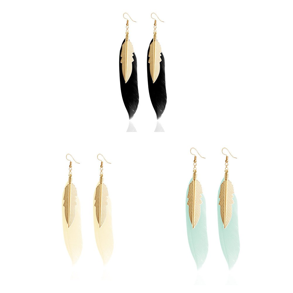 F&U Real Feather Design Indian Style With Golden Leaf Dangle Drop Earrings (Yellow+blue+green)
