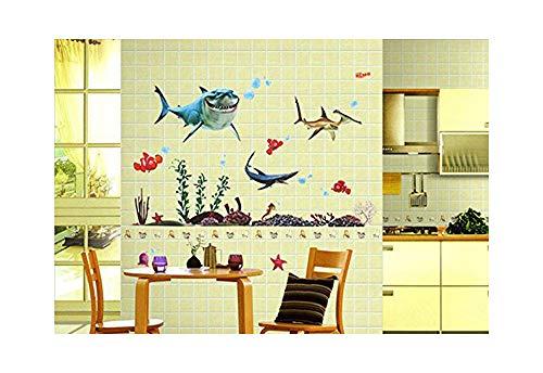 Alrens(TM Sharks Freely Swim in Ocean World DIY Vinyl Wall Sticker Removable Home Decoration Creative Art Décor Kids Nursery Room Bathroom Bedroom Living Room Decor Decal ()