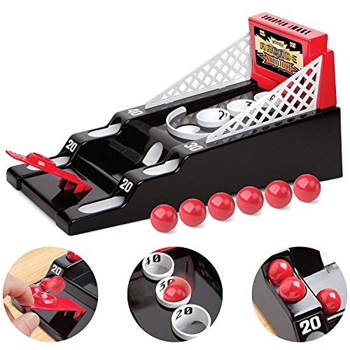 Sharper Image Desktop Arcade Shootout Challenge for Home & Office Desk, Mini Game Machine for Children & Adults, Great Basketball & Bowling Sports Game for Coffee Tables & Playrooms