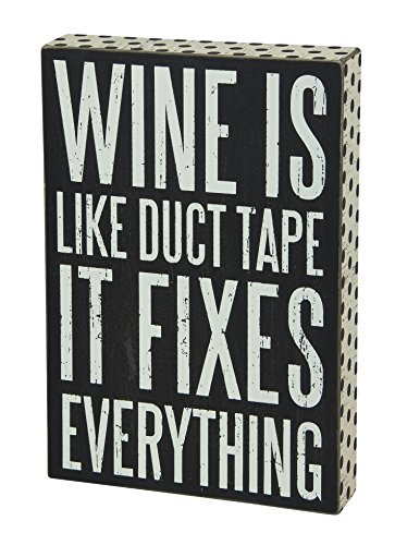 Primitives by Kathy Polka Dot Trimmed Box Sign, 8 x 12-Inches, Wine Fixes Everything