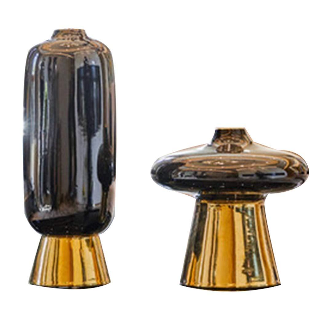 セラミック花瓶、シンプルなスタイル黒フラワーアレンジメント工芸装飾ホームリビングルームの寝室理想的なギフト B07SG7X9TD