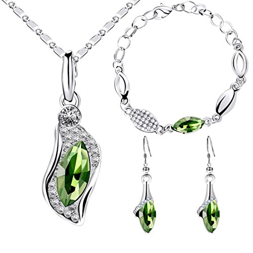 dal Colorful Crystal Rhinestone Silver Necklace Bracelet Earring Jewelry Set for Women (Green) ()