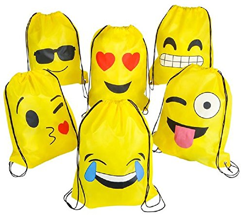 Novelty Treasures 6 Pack Durable Emoji Drawstring Backpacks - EXPRESSIVE Party Favor - Sunglasses Emoticon On Puts