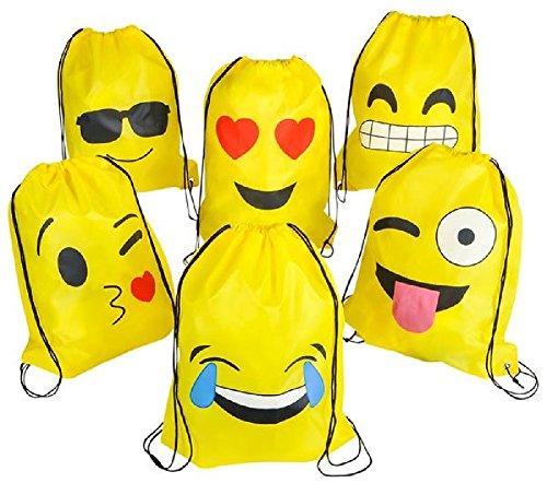 Novelty Treasures 6 Pack Durable Emoji Drawstring Backpacks - EXPRESSIVE Party Favor - Sunglasses Puts Emoticon On
