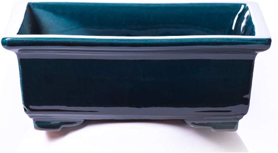 Alfareros Damian Canovas Maceta para Bonsai DE Barro Y ESMALTADA EN Color Azul RABEL. Medidas 18X14X6 CM.Modelo HIROSIMA. con TU Compra TE REGALAMOS EL Plato.