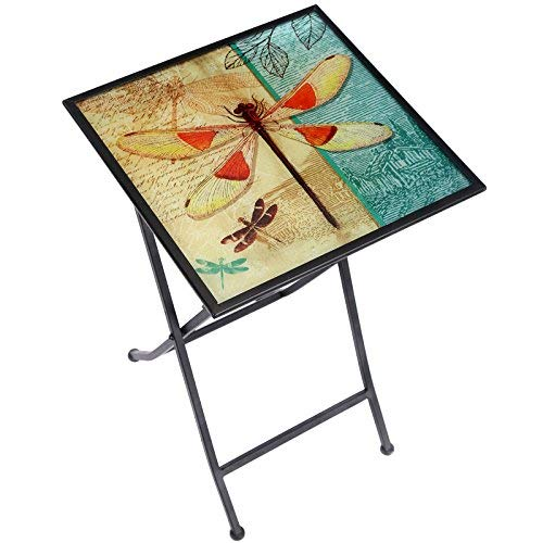CEDAR HOME Side Table Outdoor Garden Patio Metal Accent Desk with Square Hand Painted Glass, Dragonfly