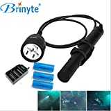 Brinyte DIV10 LED Diving Light CREE XML2 3000lm LED Scuba Diving Torch Flashlight 200M Underwater Lamp with 3 x 26650 5000mAH 3.7v Battery and Charger