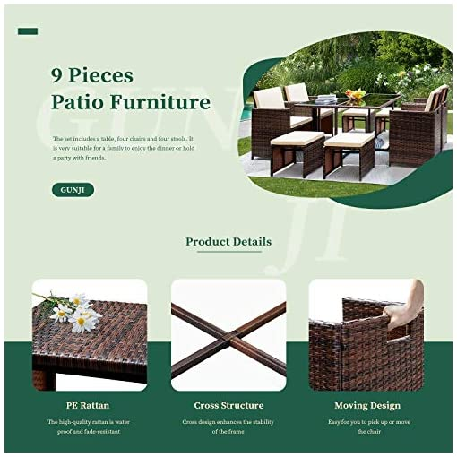 Garden and Outdoor GUNJI 9 Pieces Patio Dining Sets Outdoor Table and Chairs Patio Dining Table Set with Space Saving Rattan Chairs Patio… patio dining sets