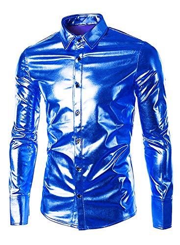 Mouou Metallic Shirts,Royal Blue Nightclub Hip Hop Cool Long Sleeve,Blue M