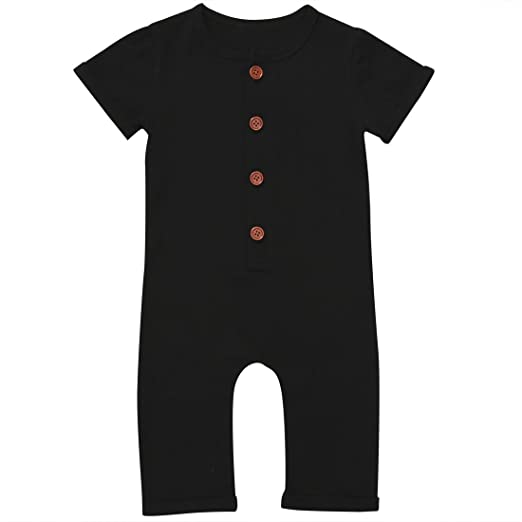 Gaono Infant Boys Black Grey Button Up Romper Short Sleeve Basic Romper  Coveralls(Black ece825554bf4