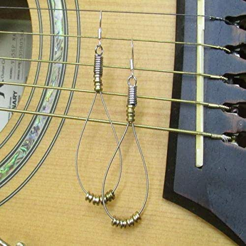 recycled guitar string earrings with brass guitar string bobbins handmade. Black Bedroom Furniture Sets. Home Design Ideas