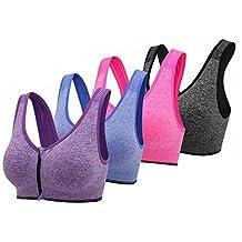 Women's Front Zipper Closure Sports Bra Padded Workout Yoga Bras