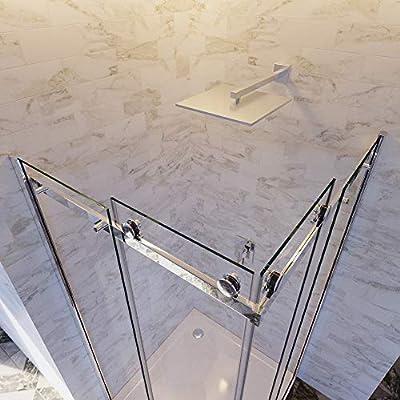 Olimpo - Mampara de Ducha Angular H195, 2 Puertas correderas de ...