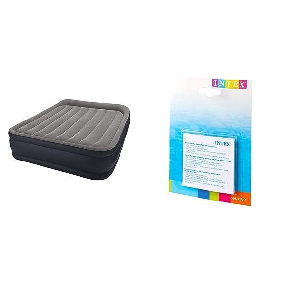 Intex 64136 - Colchón Hinchable Dura-Beam Standard Deluxe Pillow 152 x 203 x 42 cm + 59631NP - Set de reparación Parches autoadhesivos, 7 x 7 cm