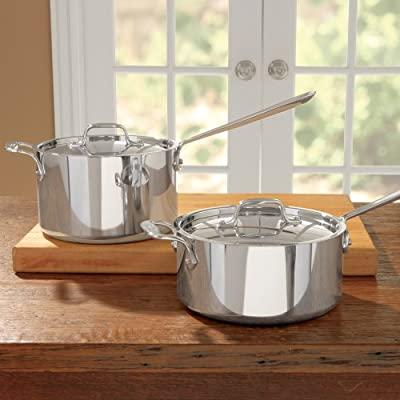 All-Clad 4203 with Loop Stainless Steel Tri-Ply Bonded Dishwasher Safe Sauce Pan with Loop Helper Handle and Lid Cookware