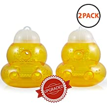 Aspectek Wasp Trap 2-pack - Traps Wasps, Hornets, Yellow Jackets / Wasp Repellent, Hornet Trap, Bee Catcher, Safe and Natural