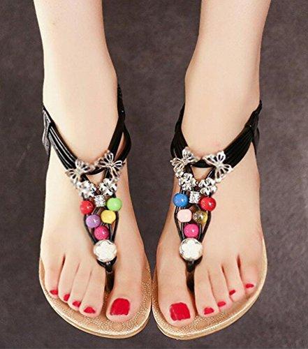 Yiiquan Mujer Sandalias Verano Bohemia Clip Dedo Del Pie Sandalias Con Cuentas Zapatos de Playa Estilo3 Negro