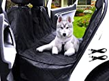 "Transpawt Luxury Dog Car Seat Covers - Hammock Waterproof Back Seat Cover for Cars - Trucks and SUVs - Black - 57L x 55W with additional 8"" Side Seat Protectors. Includes Bonus x2 Dog Seat Belts."