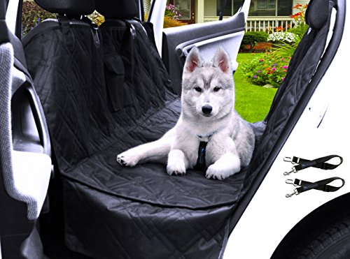 """Transpawt Luxury Dog Car Seat Covers - Hammock Waterproof Back Seat Cover for Cars - Trucks and SUVs - Black - 57L x 55W with additional 8"""" Side Seat Protectors. Includes Bonus x2 Dog Seat Belts."""