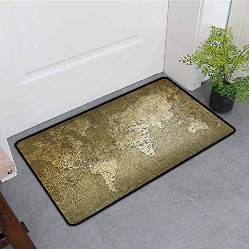 Antique Entrance Door mat Old World Map with Great Texture Nostalgic Ancient Plan Atlas Trace of Life World Hard and wear Resistant W15 x L23 Army Green